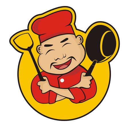 chef chinese Vettoriali