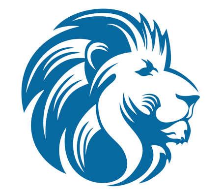 ライオン ヘッド青  イラスト・ベクター素材