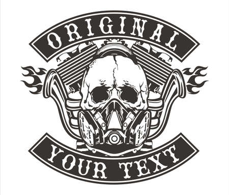 skull logo: vector design skull with a motorcycle engine and exhaust spend fire Illustration