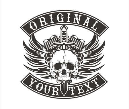 pandilleros: diseño del vector del cráneo con alas con un motor de motocicleta y una espada en el centro