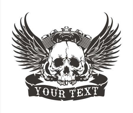 diseño del vector del cráneo con alas con un motor de motocicleta