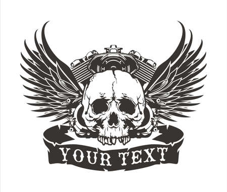 vector winged skull design with a motorcycle engine Stock Illustratie