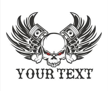 calavera: diseño del vector del cráneo con alas con los motores de motocicletas y pistone Vectores