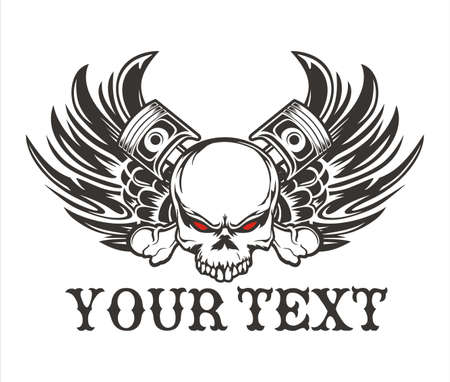 vector winged skull design with motorcycle engines and pistone Stock Illustratie