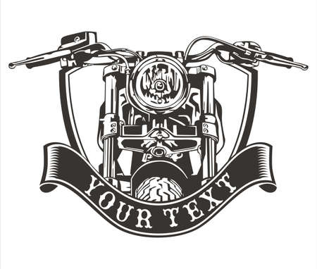 vector design vintage motorcycle with a ribbon below