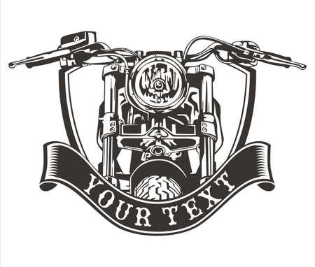 vector design vintage motorkerékpár szalaggal alatti Illusztráció
