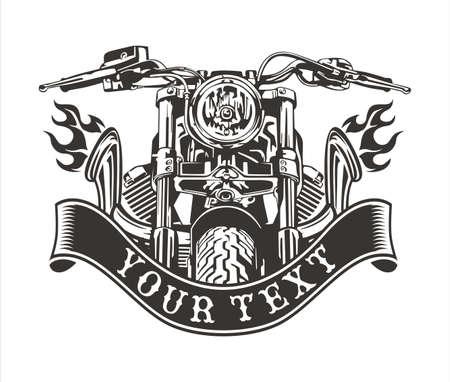 vector design vintage motorfietsen met motor en het uitlaatsysteem