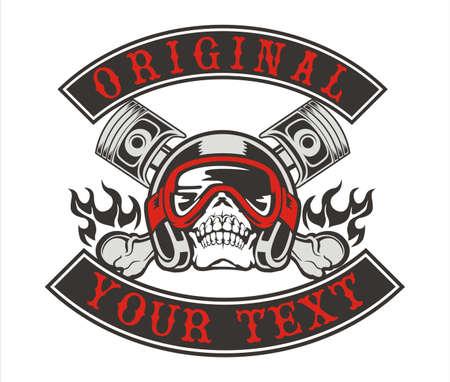 vintage design vector skull wearing a helmet with crisscross pistons Illustration