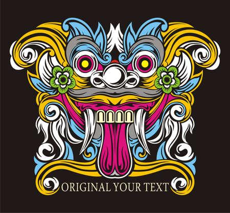 vector design mythology balinese barong Illustration