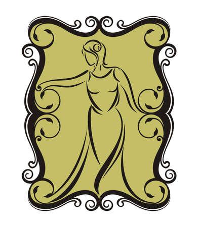 simbolo de la mujer: frontera vector de diseño de la silueta de la mujer