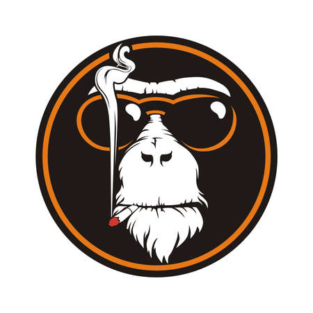 vector design monkey's head wearing sunglasses who were smoking Vettoriali