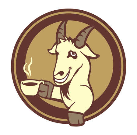 vector design goat holding coffee cups