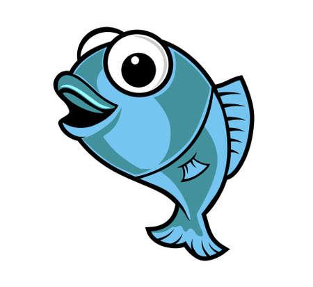 Disegno vettoriale pesce simpatico cartone animato Archivio Fotografico - 52526458