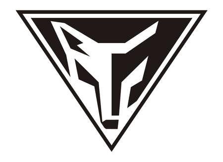 Cabeza de lobo diseño de vectores en el triángulo Ilustración de vector