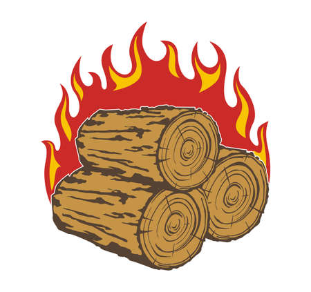 firewood: vector design firewood and flame