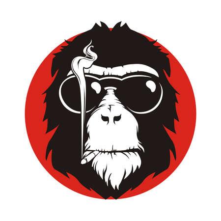 smoke: vector design monkeys who smoke Illustration