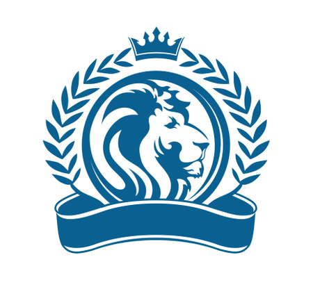 leones: diseño del vector cabeza de león y la cosecha de grano