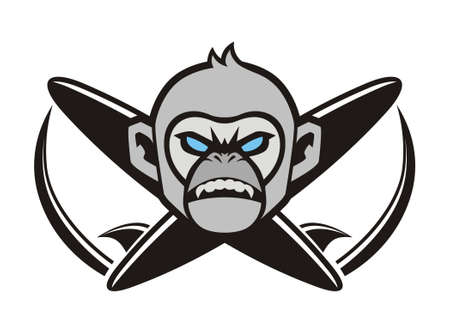 extreme sports: vector design monkeys head and surfboards Illustration