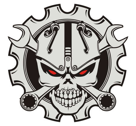skull steampunk and wrench