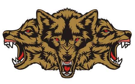 Three Wolf Angry Illustration