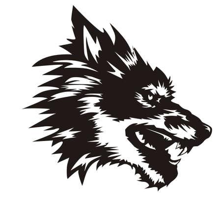 lobo terrible negro Ilustración de vector