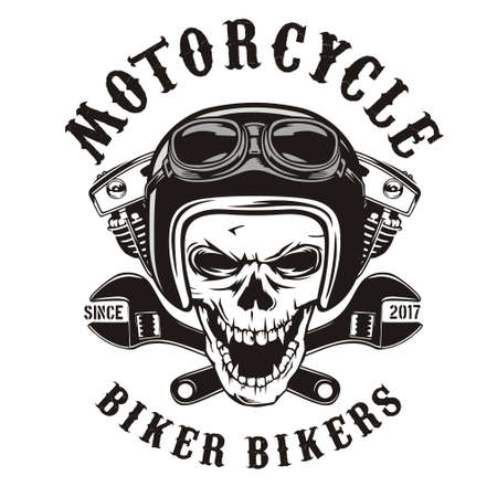 Skull rider with motorcycle machine and wrench