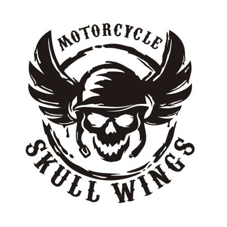 Skull wings circle and typography