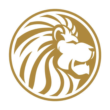 Lion head gold circle 向量圖像