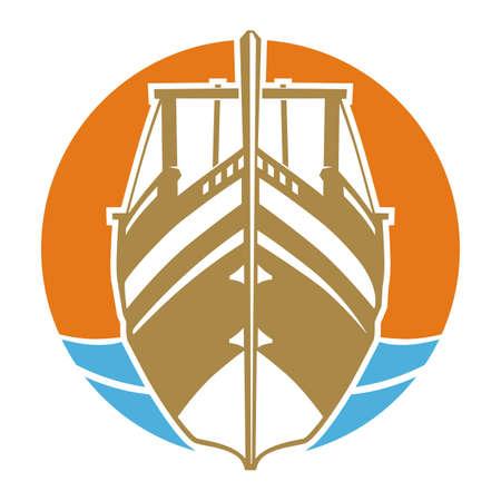 Ship sunset circle Illustration
