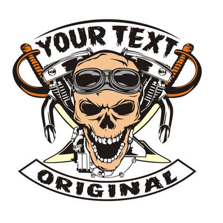 Skull motorcycle machine and sword