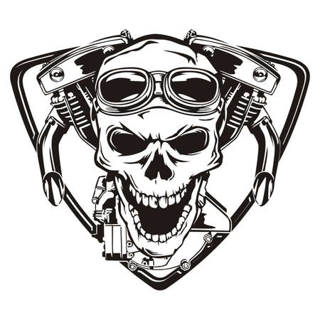 Skull motorcycle machine shield