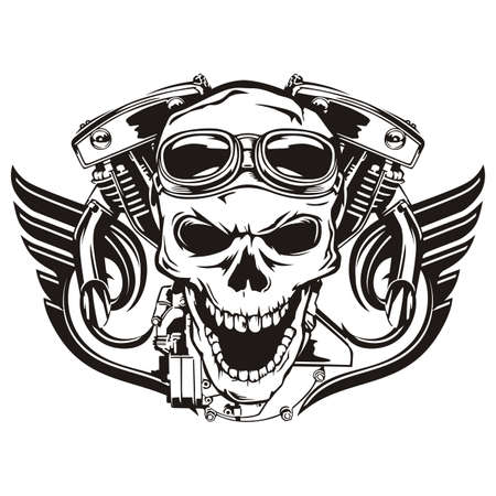 Skull motorcycle machine wings 일러스트