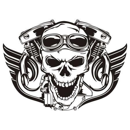 Skull motorcycle machine wings Illustration