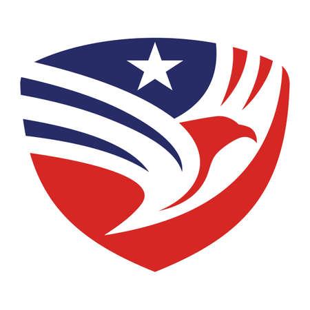 Shield eagle american flag