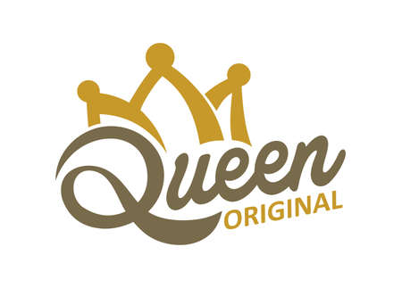 Queen typography and Crown Иллюстрация
