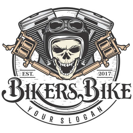Bikers bike and Machine tattoo Иллюстрация