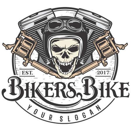 Bikers bike and Machine tattoo Illustration