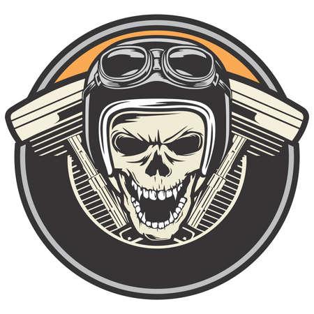 Bikers skull emblem circle