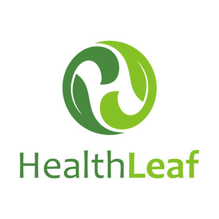 Leaf Letter H and typography Иллюстрация