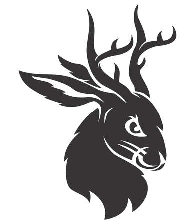 Jackalope black head Ilustrace