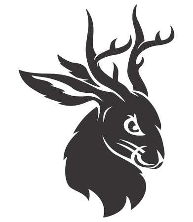 Jackalope black head Illustration