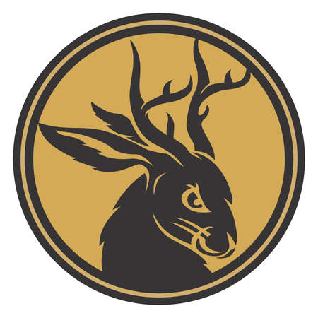 Jackalope head circle gold