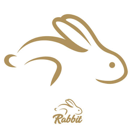 Rabbit abstract line brush and typography