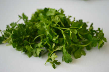 Parsley, mint, dill and onion are consumed naturally and my health is beneficial Stock Photo