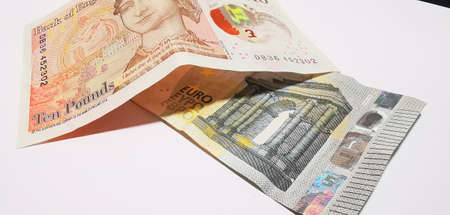 Paper money pounds and euros