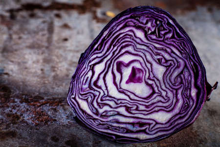 red cabbage: Red cabbage cut on rusty background Stock Photo