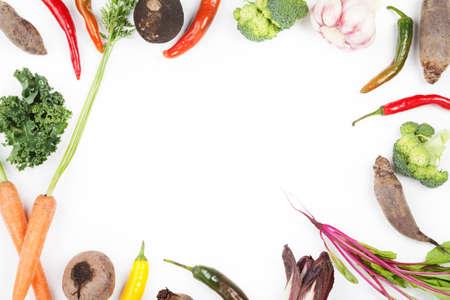 chilli pepper: Frame made from beet leaves, carrots, beetroot, curly kale, chicory, chilli pepper, broccoli and garlic on white background