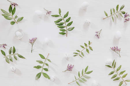 Fresh green leaves, little eggs and violet flowers on white wooden background