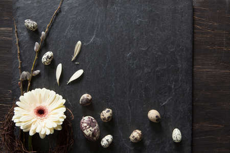 Easter background with dark stone, gerbera flower in a wreath, fluffy willow and natural eggs with flying petals