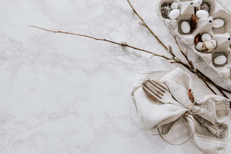 Easter decoration with natural materials like eggs and willow on marble table top Stock fotó